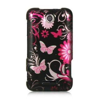 Insten Black/ Hot Pink Butterfly Hard Snap-on Rubberized Matte Case Cover For ZTE Score M