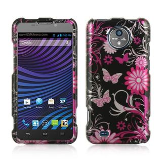 Insten Black/ Hot Pink Butterfly Hard Snap-on Rubberized Matte Case Cover For ZTE Vital N9810