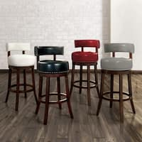 Gracewood Hollow Cooper Contemporary Leatherette Nailhead Swivel Bar Stool (Set of 2)