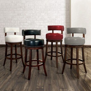 Furniture of America Hendeson Contemporary Leatherette Nailhead Swivel Bar Stool (Set of 2) & Contemporary Bar u0026 Counter Stools - Shop The Best Deals for Nov ... islam-shia.org