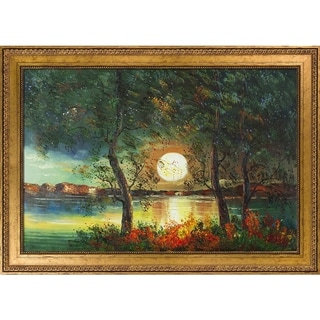 Justyna Kopania 'Moon' Hand Painted Framed Oil Reproduction on Canvas