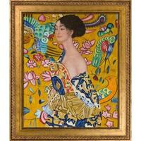 Gustav Klimt 'Signora con Ventaglio Interpretation' Hand Painted Framed Oil Reproduction on Canvas