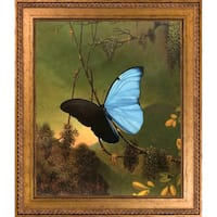 Martin Johnson Heade 'Blue Morpho Butterfly' Hand Painted Framed Oil Reproduction on Canvas