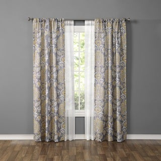 Made4You Damask and Sheer Curtain Panel (Set of 4)