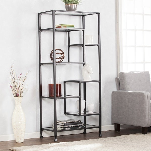 shop harper blvd jensen metal glass asymmetrical etagere bookcase black on sale free. Black Bedroom Furniture Sets. Home Design Ideas