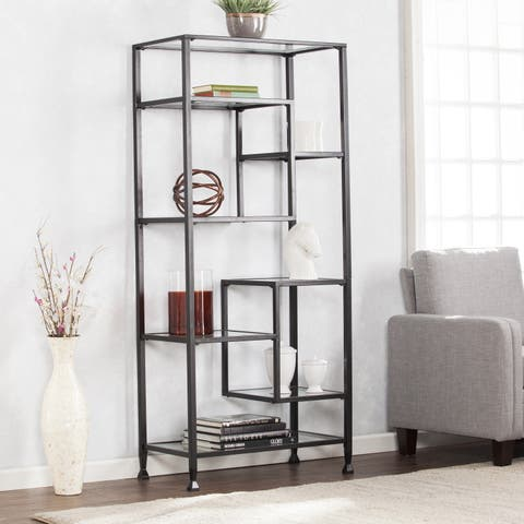 Harper Blvd Jensen Metal/Glass Asymmetrical Etagere/Bookcase - Black