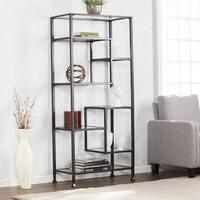 Harper Blvd Jensen Metal/Glass Asymmetrical Etagere/Bookcase - Black