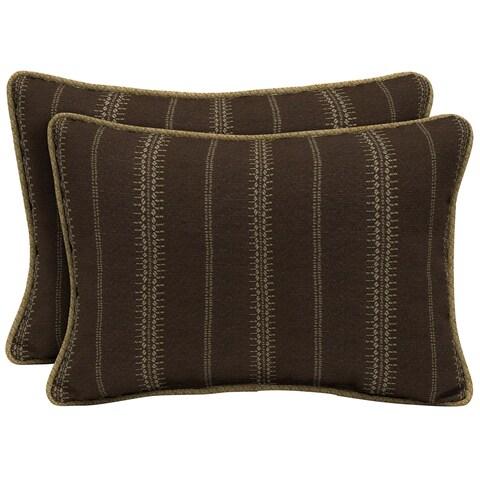 Bombay Outdoors Trevor Stripe Espresso Oversize Lumbar Pillow with Welt 2-Pack