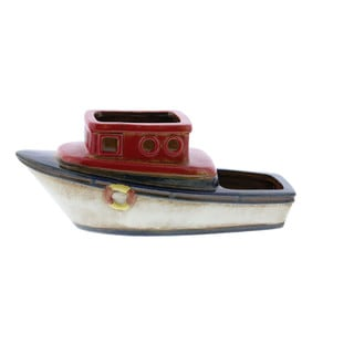 Benzara Vintage Inspired Multicolor Ceramic Boat Planter