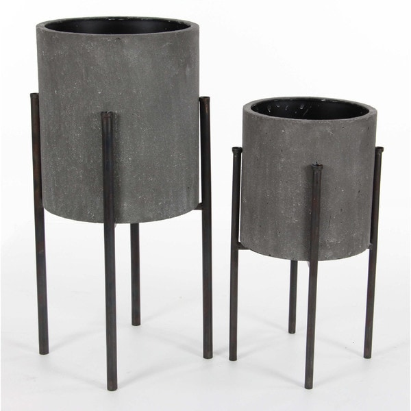 Benzara Metal Planters (Set Of 2)