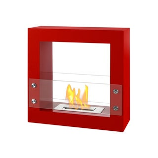 Ignis Tectum Mini Red Freestanding Ventless Ethanol Fireplace