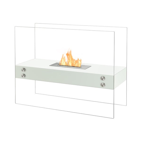 Ignis Vitrum H White Freestanding Ventless Ethanol Fireplace