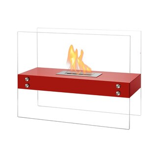 Ignis Vitrum H Red Freestanding Ventless Ethanol Fireplace