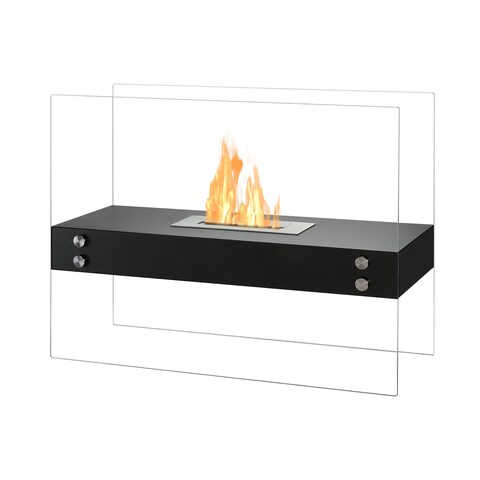 Ignis Vitrum H Black Freestanding Ventless Ethanol Fireplace