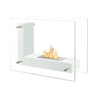 Ignis Vitrum L White Freestanding Ventless Ethanol Fireplace