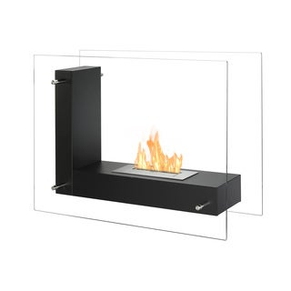Ignis Vitrum L Black Freestanding Ventless Ethanol Fireplace