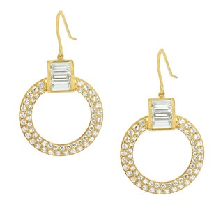 Michael Valitutti Sterling Silver Round & Baguette Cubic Zirconia Dangling Earrings