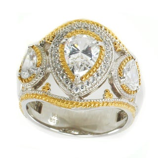 Michael Valitutti Sterling Silver Pearshaped & Round Cubic Zirconia Ring (3 options available)