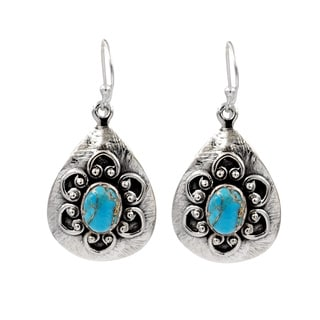 Sterling Silver Decorative Blue Copper Turquoise Earrings