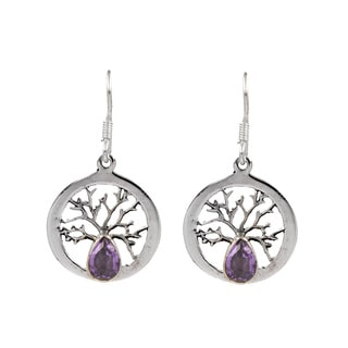 Sterling Silver Earring Tree Design with Amethyst stone accent