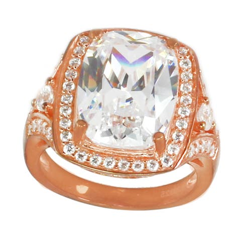 Gems en Vogue Sterling Silver Cushion & Round Cubic Zirconia Ring