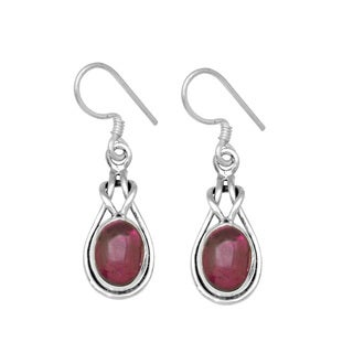 Sterling Silver Oval Cabachon Garnet Earring