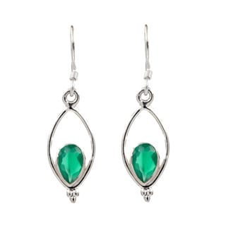Sterling Silver Lightweight Green Onyx Drop Earrings