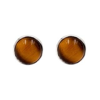 Sterling Silver Tigers Eye Small Stud Earrings