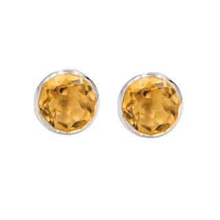 Sterling Silver Citrine Brilliant Cut Small Stud Earring
