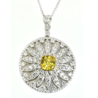 Michael Valitutti Sterling Silver Cushion & Round Yellow and White Cubic Zirconia Cross Pendant