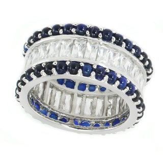Michael Valitutti Sterling Silver Blue & White Cubic Zirconia Band Ring