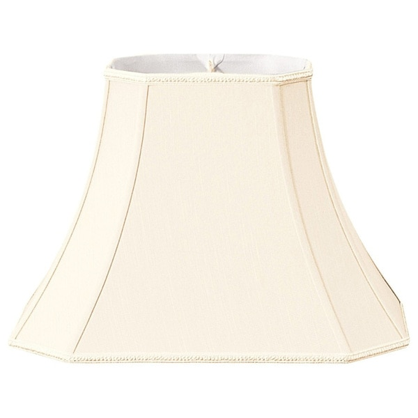 Royal Designs Rectangle Bell Eggshell White Silk Designer Lamp Shade with Cut Corners