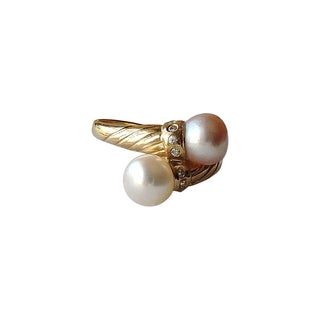 14k Gold Pink and White Pearl Size 7.5 Ring