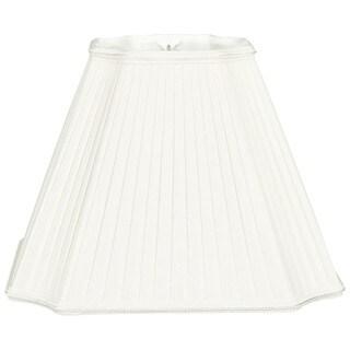 Royal Designs Inverted Cut Corner Pleated Designer Lamp Shade, White, 6.5 x 13.5 x 10.5