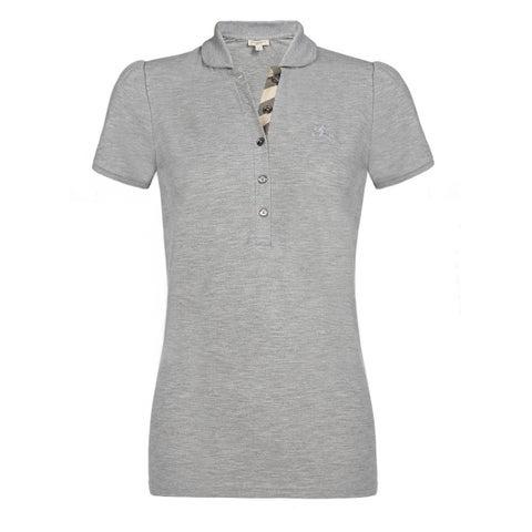 Burberry Women's Grey Cotton Melange Polo Shirt