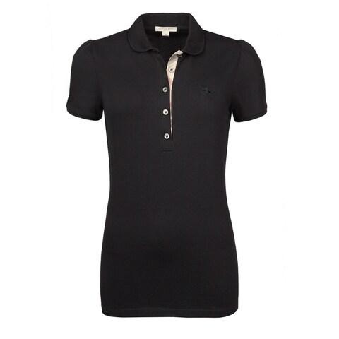 Burberry Women's Black Cotton Polo Shirt