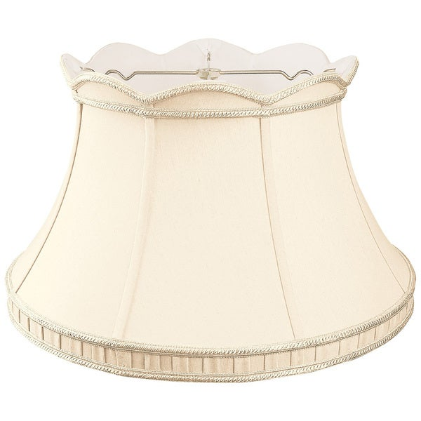 Royal Designs Top Scallop with Gallery Designer Lamp Shade, Eggshell/Ivory 12.5 x 19 x 11.5