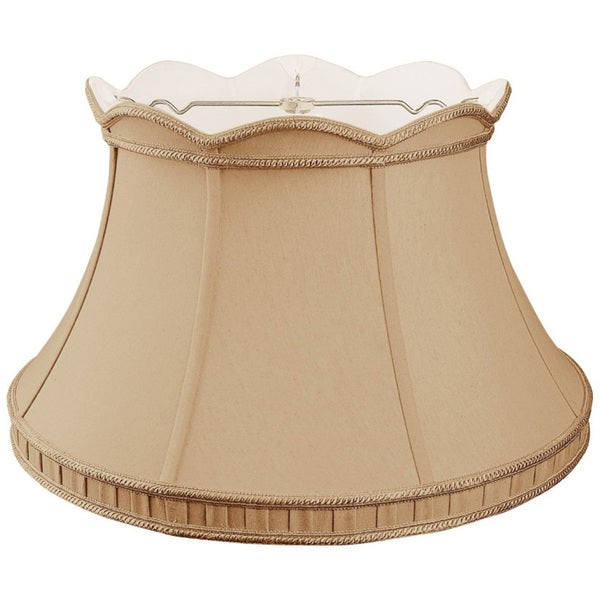 Royal Designs Top Scallop with Gallery Designer Lamp Shade, Antique Gold, 11.5 x 17 x 10.5