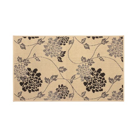 Laura Ashley Stencil Chrysanthemum Light Gray Rug - 4' x 6'