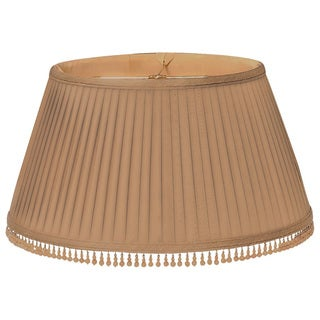 Royal Designs Brown Pleated and Beaded Round Designer Lamp Shade, 11.5 x 17 x 9