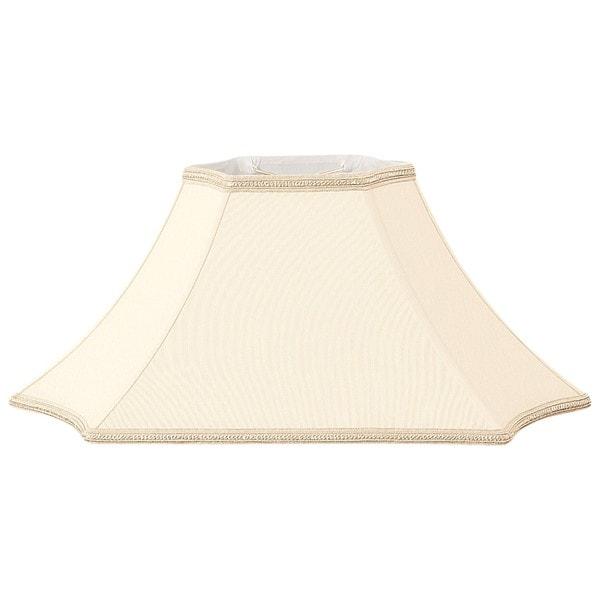 Royal Designs Rectangle Inverted Cut Corner Designer Lamp Shade, Eggshell, (9 x 5) x (23.5 x 11.5) x 12.5