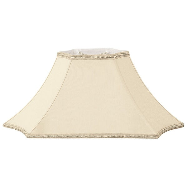 Royal Designs Rectangle Inverted Cut Corner Designer Lamp Shade, Beige, (9 x 5) x (23.5 x 11.5) x 12.5