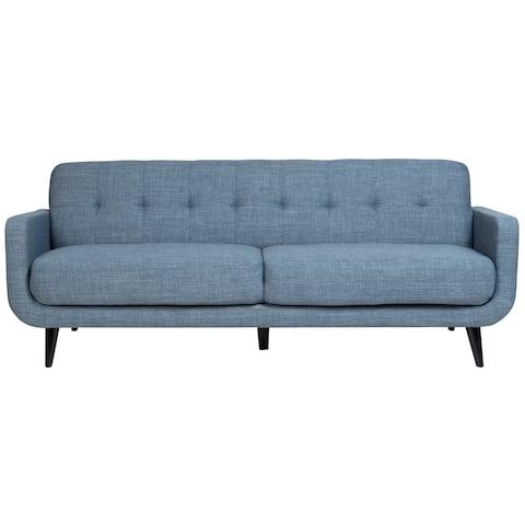 "Handmade Casper Blue Mid-Century Modern Tufted Sofa - 34"" x 34"" x 97"" (India)"