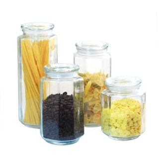 Glass Canister Set with Glass Lid (Set of 4)