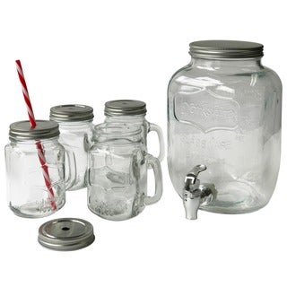 Mason Jar Beverage Dispenser (Set of 5)