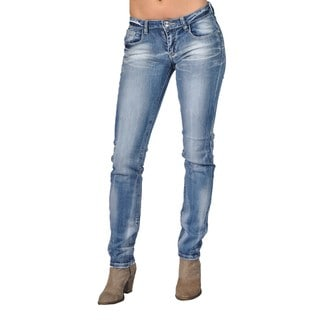 Fashion Rhinestoned Denim Skinny Jeans Cross Design Back Pocket