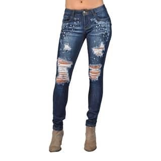 Fashion Rhinestoned Denim Skinny Jeans Cross Design Back Pocket https://ak1.ostkcdn.com/images/products/15274317/P21744370.jpg?impolicy=medium