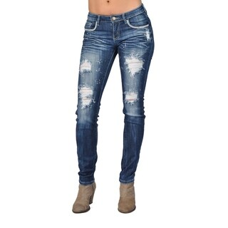 Fashion Rhinestoned Skinny Denim Jeans Ripped Stone Washed (Option: 0)