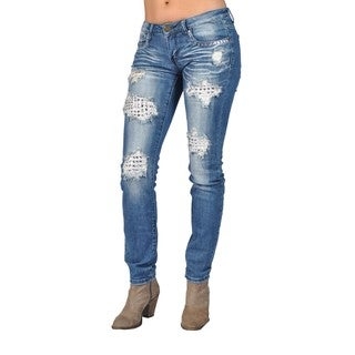 Fashion Rhinestoned on Pocket Ripped Skinny Denim Jeans