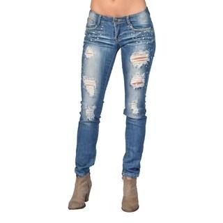 Machine Brand Skinny Fashion Stone 5 Pocket Skinny Jeans Blue